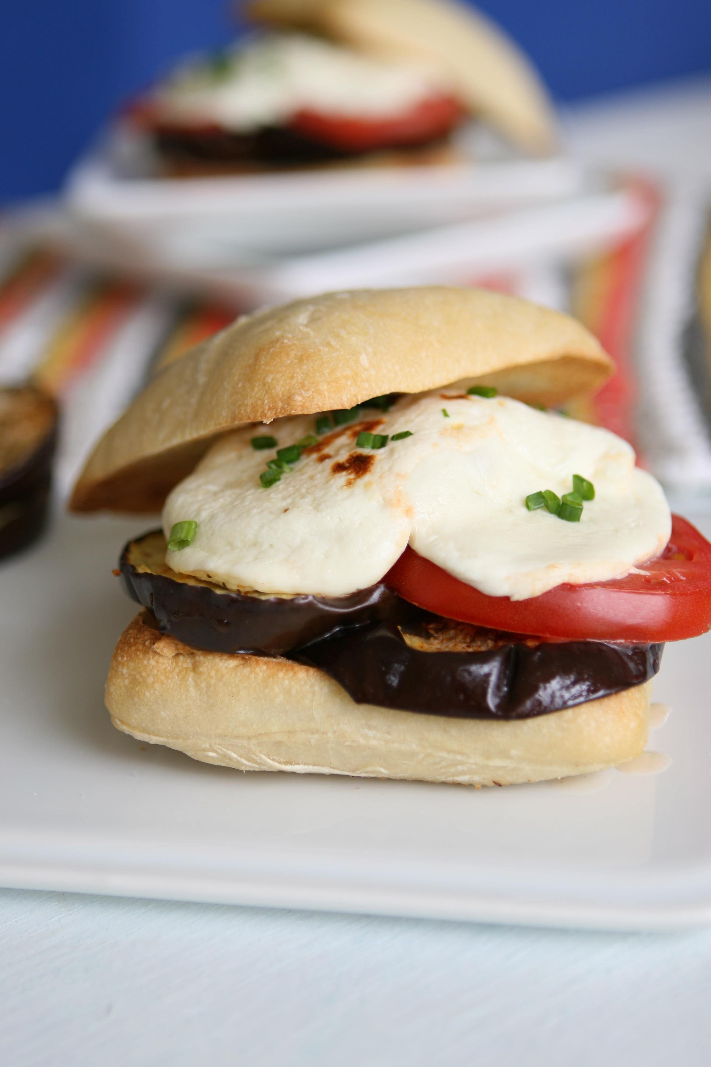 Florida Eggplan, Tomato and Mozzarella Melt