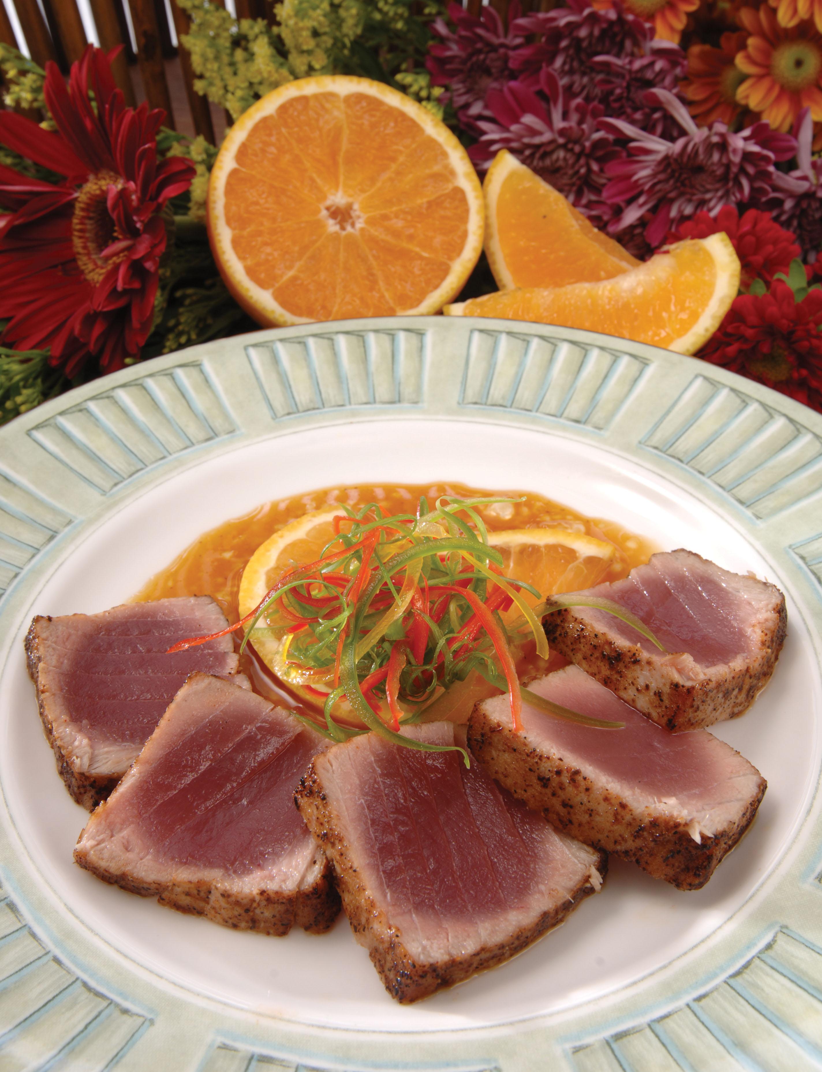 Seared Yellowfin Tuna with Orange Teriyaki