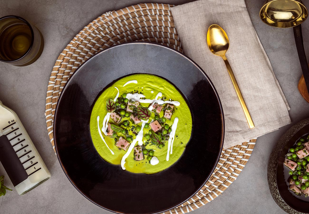Green Pea Soup with Ham
