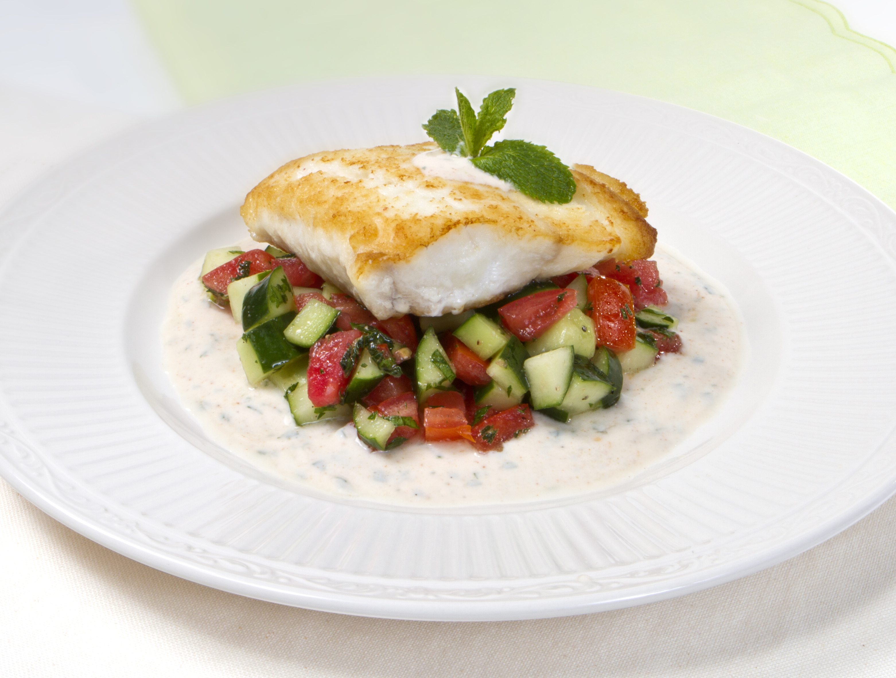 Pan-Seared Florida Red Snapper with Cucumber Relish and Spicy Yogurt Sauce