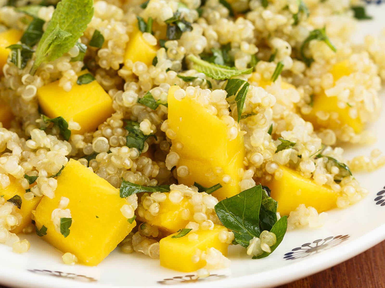 Quinoa Salad in a Mango Avocado Dressing