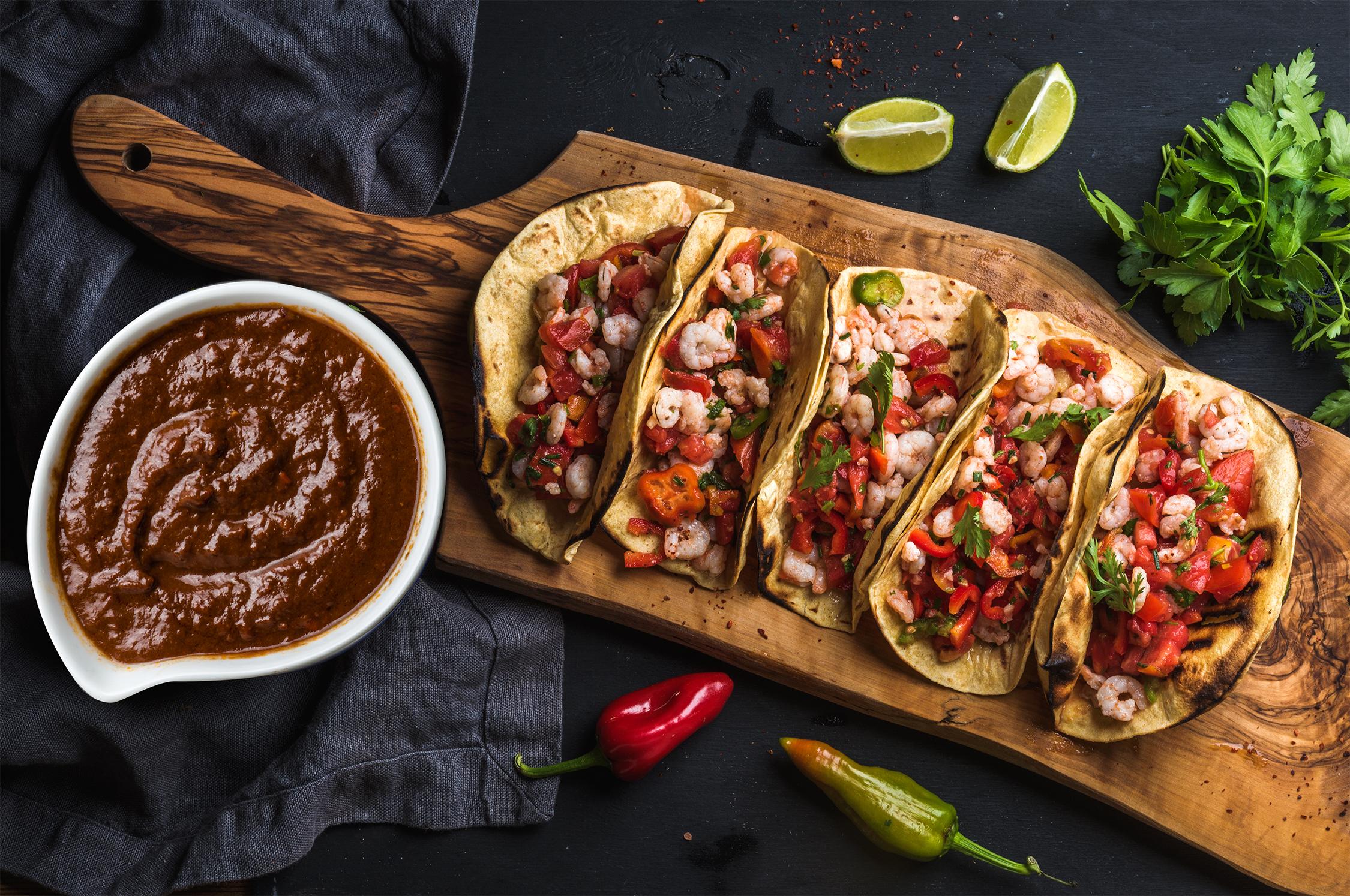 Mole-Poblano-Shrimp-Tacos